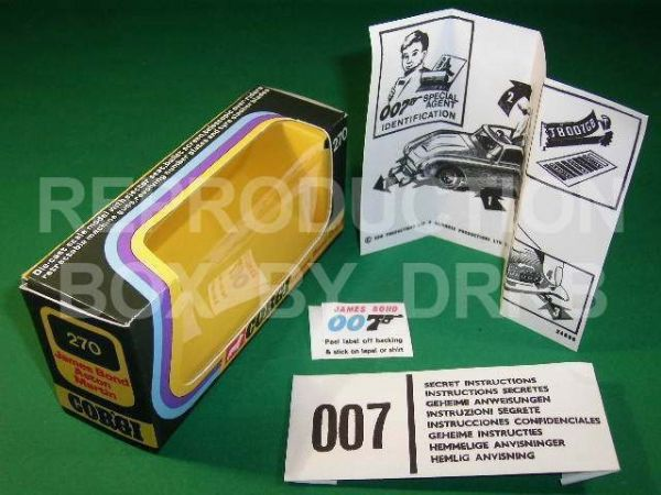 Corgi #270 James Bond Aston Martin (2nd type - Silver) - Reproduction Box
